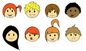 stock photo of teen pony tail  - set of different kids faces isolated on white - JPG