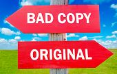 pic of plagiarism  - Bad or original way choice showing strategy change or dilemmas - JPG