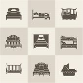 picture of flat-bed  - Vector flat bed icon set simple style - JPG