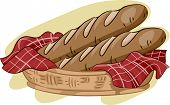 pic of baguette  - Illustration Featuring a Basket of Baguette - JPG