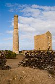pic of hughes  - The dominating chimney of the Hughes engine house at Moonta Mines - JPG