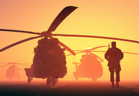 foto of helicopters  - A group of military helicopters and the silhouette of a soldier - JPG