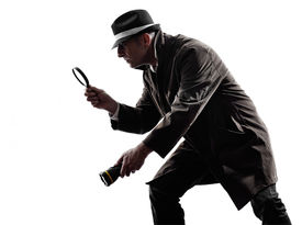 picture of investigation  - one detective man criminals investigations investigating crime in silhouettes on white background - JPG