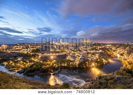 Toledo, Spain town skyline on the Tagus River.