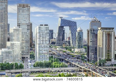 Beijing, China Financial District Skyline.
