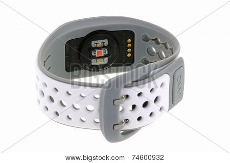 BANGKOK, THAILAND - JULY 2014 : The MIO LINK heart rate monitor Wristband isolated on white on 17 July 2014 in Bangkok, Thailand. MIO LINK uses an electro-optical cell without using a chest strap.