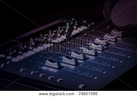 Sound recording studio technology sliders knobs