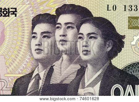 NORTH KOREA - CIRCA 2002: Young Professionals on 50 Won 2002 Banknote from North Korea.