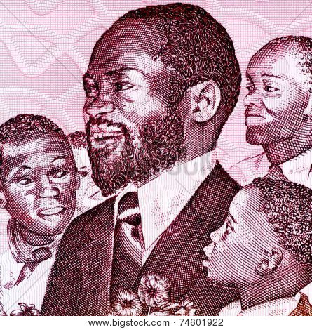 MOZAMBIQUE - CIRCA 1989: Samora Machel (1933-1986) on 1000 Meticais 1989 Banknote from Mozambique. Mozambican military commander, revolutionary socialist leader and President of Mozambique.