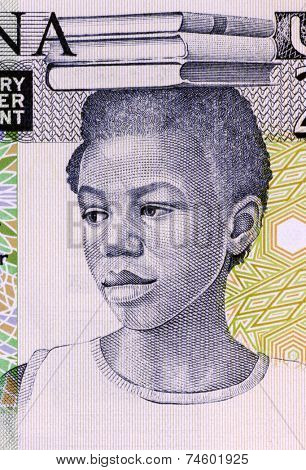GHANA - CIRCA 1979: School Girl on 2 Cedis 1979 Banknote from Ghana