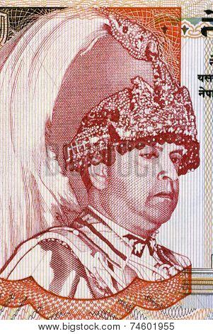 NEPAL - CIRCA 2005: Gyanendra Bir Bikram Shah Devl (born 1947) on 5 Rupees 2005 Banknote from Nepal.