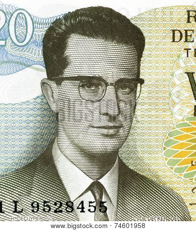 BELGIUM - CIRCA 1964: Baudouin of Belgium (1930-1993) on 20 Francs 1964 Banknote from Belgium. King of the Belgians during 1951-1993.