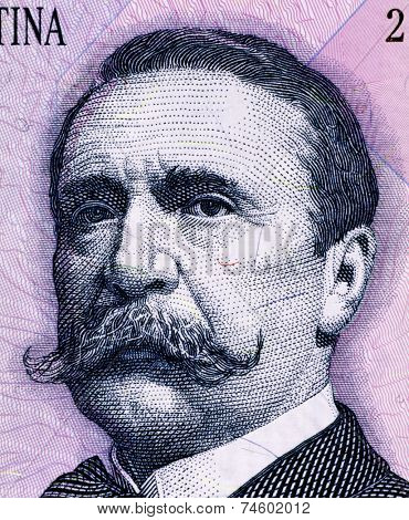 ARGENTINA - CIRCA 1993: Carlos Pellegrini (1846-1906) on 1 Peso 1993 Banknote from Argentina. President of Argentina during 1890-1892.