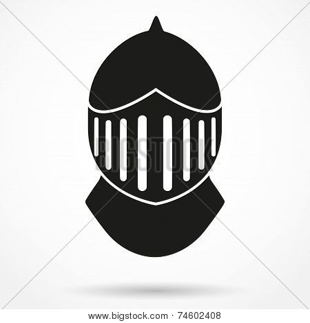 Silhouette symbol of Knight's Helmet. Vector Illustration.
