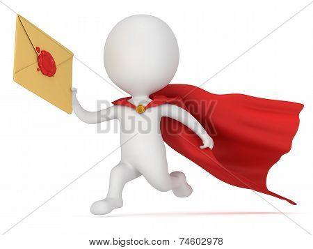 3D Man Brave Superhero And Mail Envelope