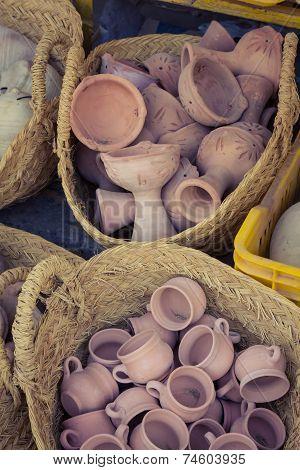 Terracotta Cups At Street Market In Gafsa, Tunisia
