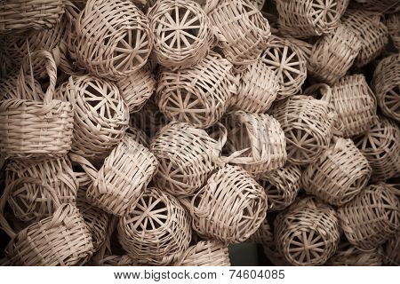 Wicker Baskets In Marketplace, gafsa, tunisia