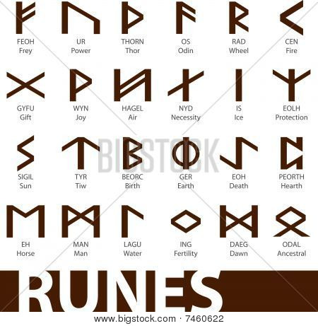 set of runes icons symbols