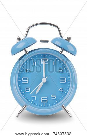 Blue Alarm Clock Isolated On White