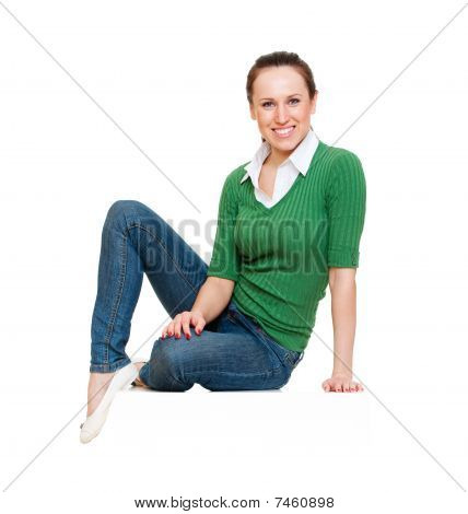 Smiley Young Woman Sitting