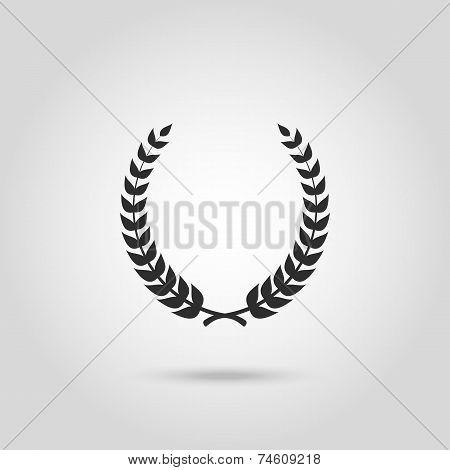 Black laurel silhouette foliate circular