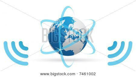 Network planet blue waves
