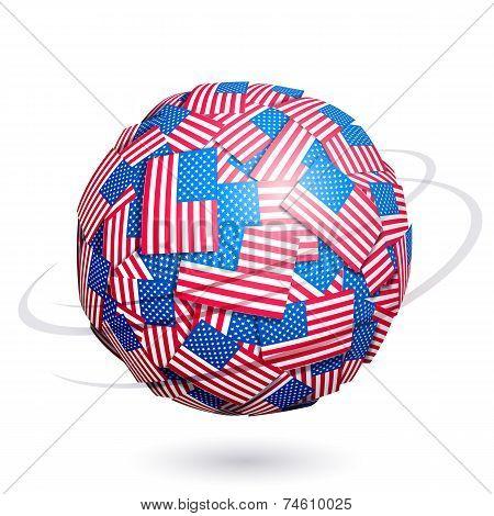Vector US flags sphere
