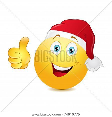 Christmas emoticon with thumb up