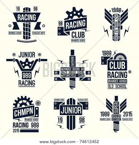Emblems Motorcycle Races In Retro Style