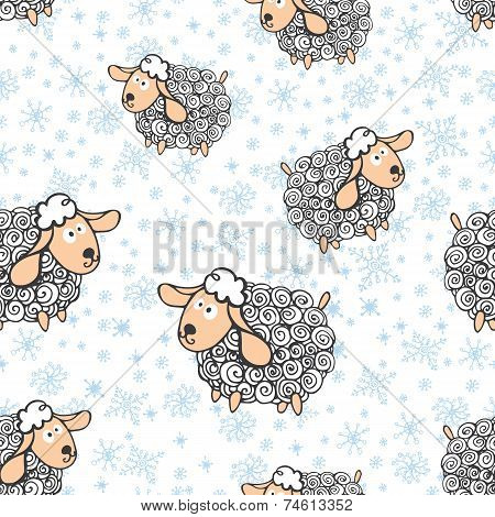 Funny sheep with snowflakes.Seamless pattern
