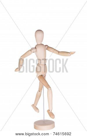 Wooden hinged dummy representing the running person