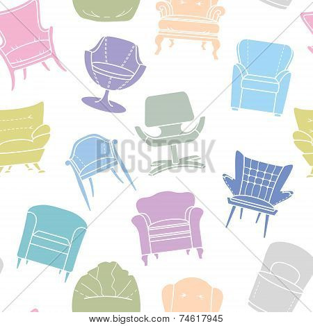 Seamless vector pattern of armchairs