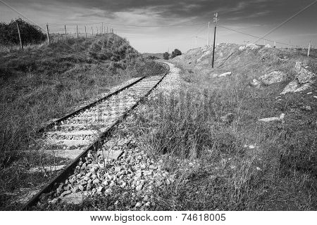 abandoned railway through the countryside