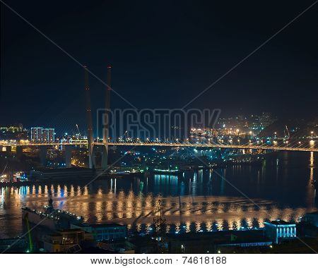 Night View Of Bridge Over Golden Horn (zolotoy Rog) Bay.