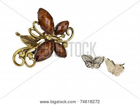 Butterfly Hairpin-crab And Butterfly Gold Earrings