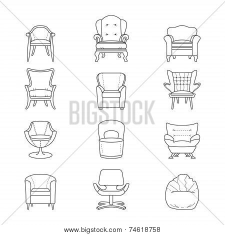 Flat line armchair vector isolated icons set