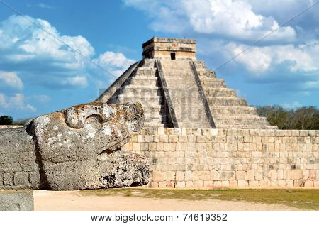 The Head Of The Snake In Chichen Itza, Mexico