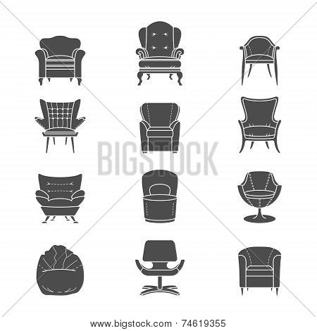 Silhouette armchair vector isolated icons set
