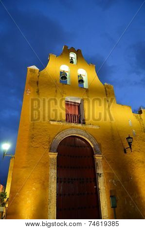 Campeche, Mexico - February 17,2014: Night View Of Street In Campeche, Mexico