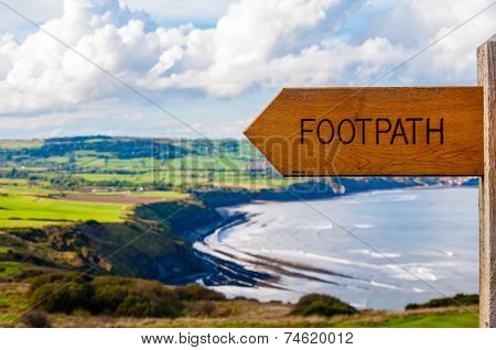 Footpath Direction Sign In English Countryside