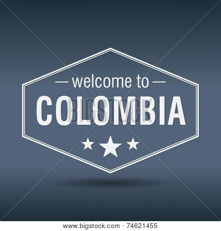 Welcome To Colombia Hexagonal White Vintage Label