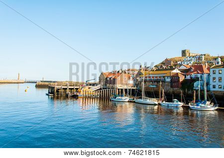 Scenic view of Whitby city in sunny autumn day, North Yorkshire, UK