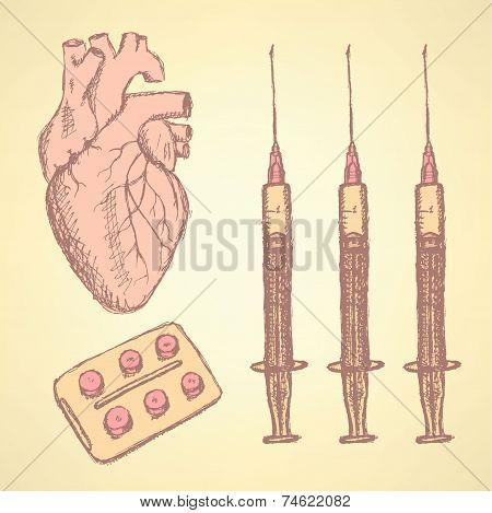 Sketch Syringe, Pills, Human Heart