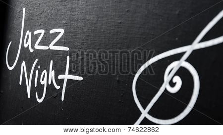 Jazz Night Advertisement Sign On Blackboard