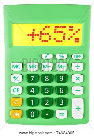Calculator With 65 On Display On White