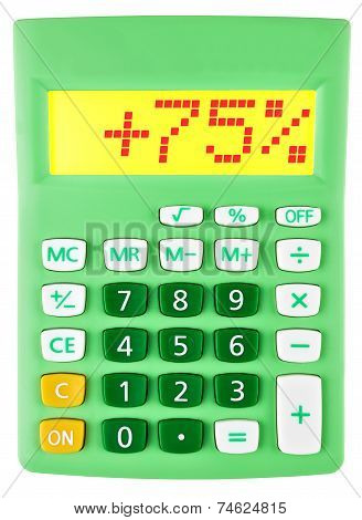 Calculator With 75 On Display On White