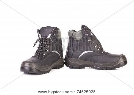 Black leather hiking boots.