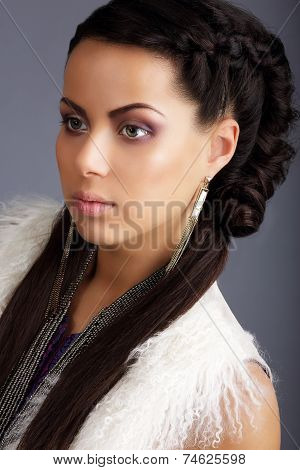 Profile Of Brown Hair Woman With Braided Plait