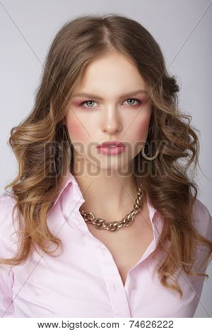 Stylish Woman In Pink Blouse With Massive Chainlet