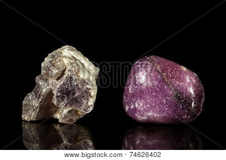 Lepidolite, Uncut And Tumble Finishing
